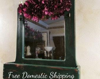 Vintage Shaving Mirror, Entryway Organizer, Vintage Mirror, Rustic Wall Decor, Wall Pocket Mirror, Floral Green Burgundy, Free US Shipping