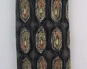 Vintage Tie, The Tie Man, Vintage Necktie, Business Necktie, 1970's Mens Tie, Silk Designer Tie, Black, Gray Necktie, Free US Shipping