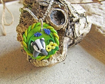 Badger Necklace / Badger Jewellery / Baby Badger with Primroses and Hyacinths Picture Pendant on Sterling Silver Chain / Wildlife Necklace