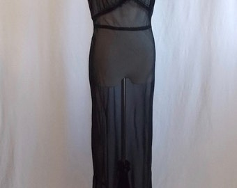 1940's Long Black Negliee Sheer Full-Length Night Gown Slip