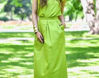 Green Skirt, Cotton Skirt, High Waist Skirt, Bohemian Skirt, Casual Skirt, Floor Length Skirt, Festival Clothing, Tube Skirt, Fashion Skirt
