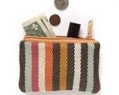 Coin Purse - Coin Pouch - Change Purse - Zipper Coin Purse - Vegan Coin Purse- Fabric Coin Purse - Stripe Coin Purse - Small Zipper Pouch