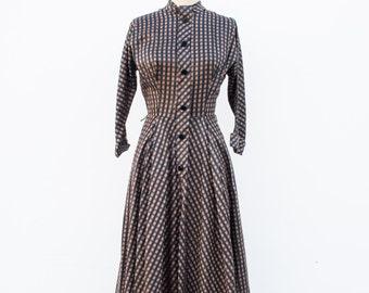 vintage 1950s bronze plaid silk dress | S