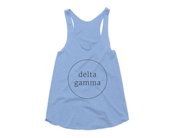 Delta Gamma Tank Top American Apparel Racerback Tank for Delta Gamma Fraternity. Available in 4 Color Options.
