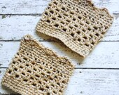 Fleck Beige Boot Cuffs Aran Legwarmers Chunky Socks Short Calf Warmers Crochet Handmade in USA