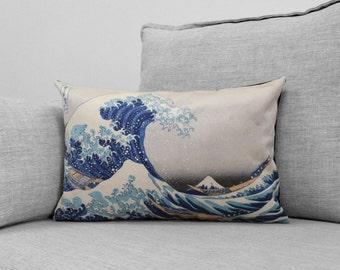 "the great wave off kanagawa- 14"" x 20"" velveteen pillow case - katsushika hokusai, 1829–32"