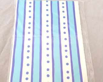 Blue Striped Wrapping Paper, Dotted Birthday Gift Wrap, Vintage Wrapping Paper, Wedding Shower Birthday Present Paper