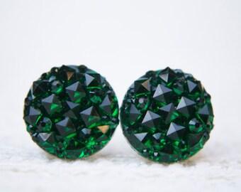 Green Sparkle Earrings, Pyramid, Green Earrings, Green Studs, Green, Studs, Stud Earrings, Post Earrings, Emerald Green