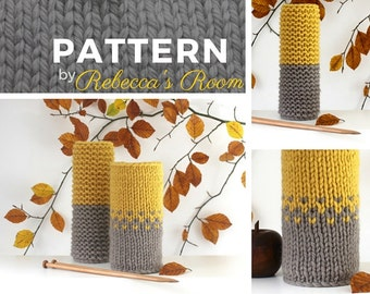 Knitting PATTERN - chunky, PDF, knitted, The Frensham Vase Covers, chunky pattern, knitting patterns, home accessories, instant download