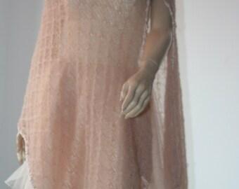 Wedding Bridal Shawl Pink Scarf Bolero Shrug Lace Crochet Shrug Boleros   Mohair Silk