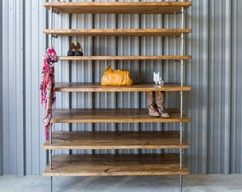 Industrial Closet Shelving - Shoe shelf unit - Custom pipe shelving -  Industrial shelf - Display Shelving - Pipe shelving Unit
