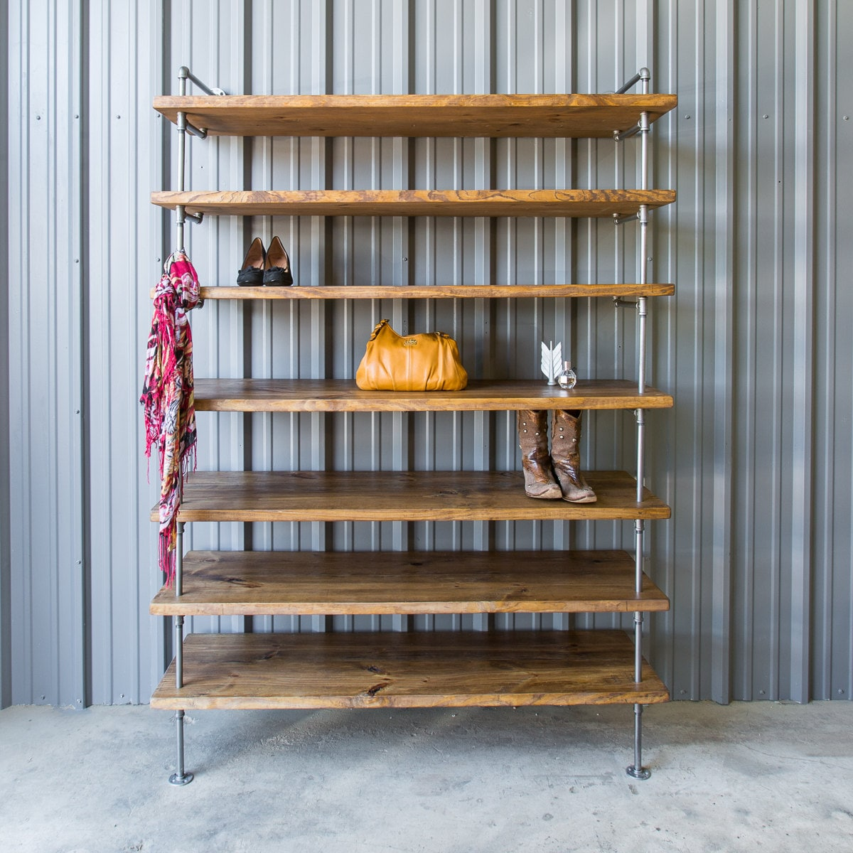 Industrial Closet Shelving Shoe Shelf Unit Custom Pipe