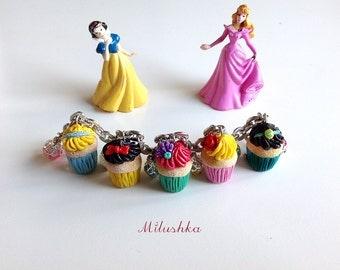 Disney Princess Charm Bracelet, Cinderella Snow White Ariel Aurora Jasmine Cupcake Disney Character Retro Inspired Novelty Jewelry, Milushka
