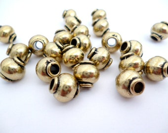 Old Gold Large Hole Metal Beads_ PP0558010092_Metal Beads_ Golden Round_of 8x8 mm_Hole 3 mm_pack 25 pcs