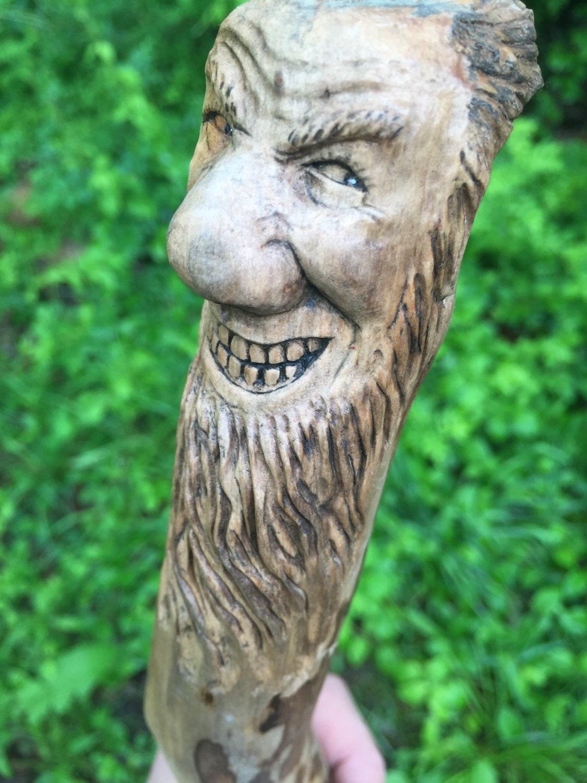 Wood walking stick spirit carving sculpture