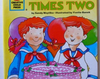 Vintage Children's Books, Party Times Two, 1992 Hardcover Book, Gift for Kids, A Birthday Party for 2,  Made in USA, Vintage Books for Kids