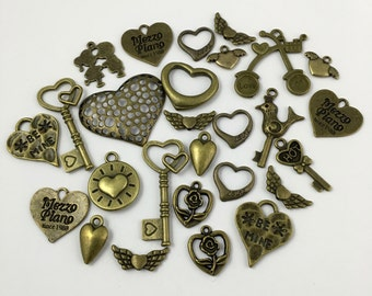 BULK,25 love charms mix,bronze tone #CH 135-1