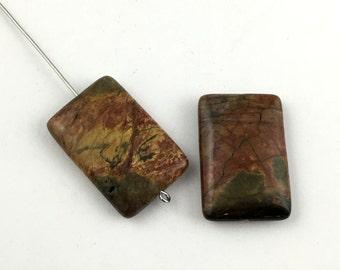 2 Picasso jasper stone bead / 20mm x 30mm  #PP 118