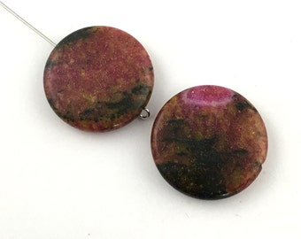 2 soocho jade pillow stone beads,25mm #PP035