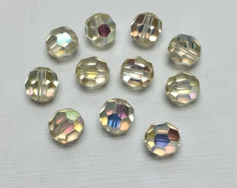 10 Czech faceted vintage glass beads #PV138