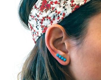 Turquoise Studs, Turquoise Earrings, Turquoise Ear Bar, Earring Pins, Ear Wraps, Ear Cuffs, Ear Sweeps, Boho Earrings, Blue Earrings