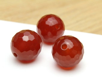 Natural Faceted Carnelian Balls 12mm 3pcs