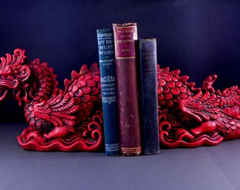 1965 Universal Statuary Faux Cinnabar Red Dragon Book Ends
