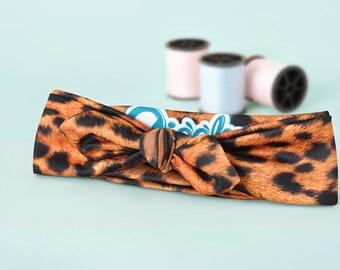 Baby Headband - cheetah Headband - Leopard Print Headband - Top Knot Headband - Knotted Headband - Animal Print Headband - Baby Shower Gift