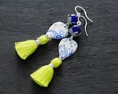 Cobalt Blue Earrings, Delftware Inspired Vintage Tin Earrings, Green Tassel Earrings, Tassel Jewelry