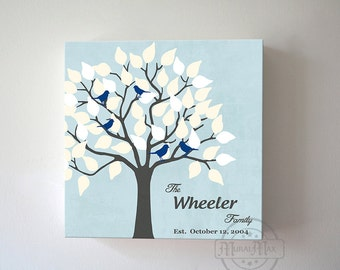 Personalized Family Tree canvas art, Love Birds, Custom Home Decor, Blue, Gray Wall Art, Modern Home Decor Art