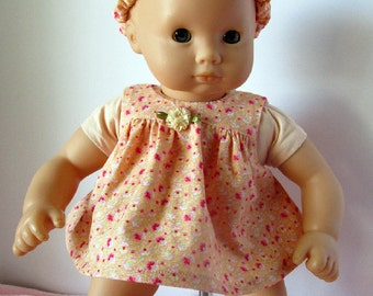 15 Inch Baby Doll Dress, Peach Calico Dress, 15 Inch Baby Doll Romper Dress with matching headband, sized to fit dolls such as Bitty Baby