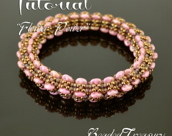 """Beading pattern, superduo bead pattern, beaded bracelet pattern with superduo and seed beads. """"Flower Power"""" / TUTORIAL ONLY"""
