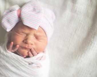 Baby Hat, Hospital Newborn Beanie, Pink White and Blue striped hat, Newborn's First Bow, Newborn hat with bow, newborn girl hospital hat