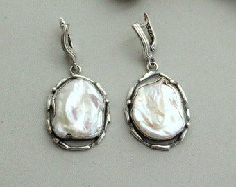 Earrings  pearl , silver 925 ,Handcrafted Earrings