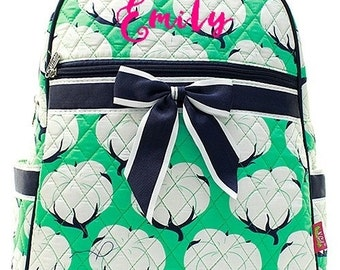 """Personalized Cotton Fields Mint Green 15"""" Quilted Backpack Monogrammed Bookbag Kids School Tote Bag Embroidered Name Monogram"""