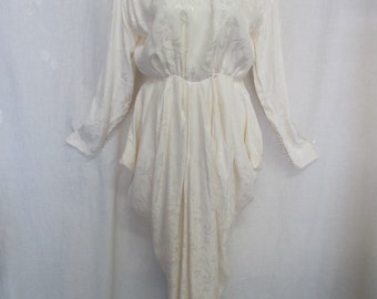 1970 Wedding Dress Silk Wedding Dress Long Sleeve Bridal dress Hollywood Regency
