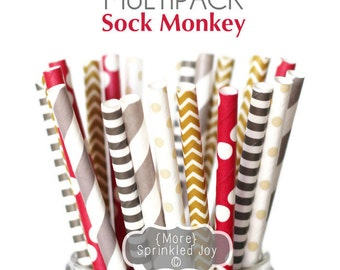 SOCK MONKEY Paper Straws, Multipack, Chevron, Dots, Brown, 25 Straws, Grey, Party, Red, Stripes, Birthday, Kids Party, Baby Shower, Child
