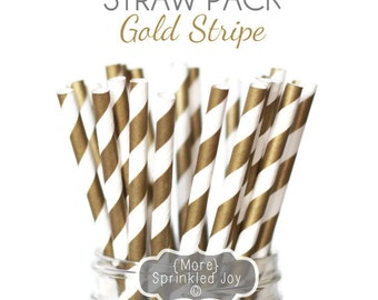 GOLD STRIPE Paper Straws, Multipack, Gold Striped Straws, 25 Straws, Wedding, Birthday, Party, Bridal Shower, Baby Shower, Cake Pops, Cookie