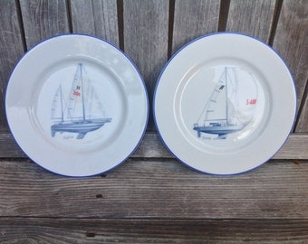 Sloop &  Ketch- Set of two (2) Porcelain Plates by Thomas B. Swain Sons, Ltd. Littleton, Colorado, USA