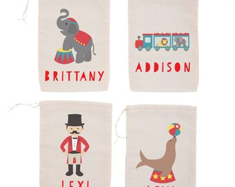 Circus {set of 10}  Personalized Classic Circus Individualized Party Favor Bags