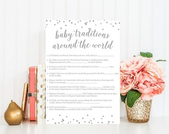 Baby Traditions Around the World, Baby Shower Game, Baby Shower Printable, Printable Game, Pink Gold Confetti, Baby Shower Decor BAS3