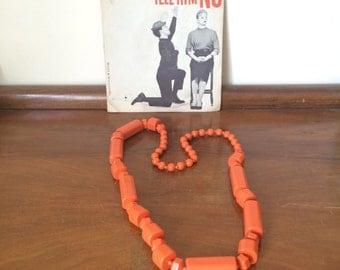 1970s Groovy Geometrical Orange Necklace