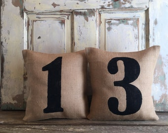 Burlap Pillow - House Numbers Pillow | Set of 2 | As seen in HGTV Magazine | Personalized Address Pillows | Mothers Day Gift | Porch Decor