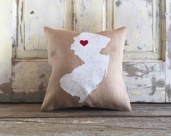Burlap Pillow - Custom City, State pillow | State love pillow | Gift for Him, Gift for Her | Mother's Day gift | Graduation gift