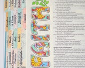 Large Print INSPIRE Bible Tabs with Laminating Stickers... 66 Books of the Bible... Self Adhesive... Mint, Aqua, Pink, Coral, Yellow, Tan