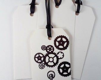 Vintage Steampunk Gears and Pocket Watch Gift Tags Labels Paper Tags