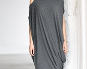 Gray Drape Dress/ Loose Casual Tunic/ Drape Top/ Sleeveless Tunic Top by Arya Sense/ DFRKR14NG