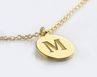Initial necklace,  Monogram disc necklace,  Gold initial disc,  Solid gold necklace,  Personalised necklace,  Initial charm, Bridesmaid gift
