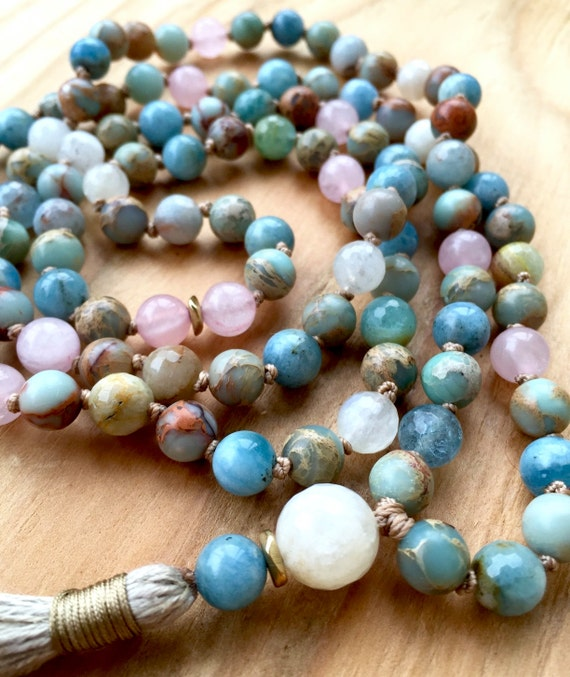 Gemstone Mala Beads - Aquamarine, African Opal, Rose Quartz & Moonstone - 108 Mala Beads - Japa 108 - Mala Prayer Beads - Healing Mala Beads