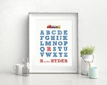 Nursery Wall Art, Printable Alphabet Nursery Print, Personalized Nursery Art, 8 x 10, Baby wall art, Nursery decor, unique baby gift